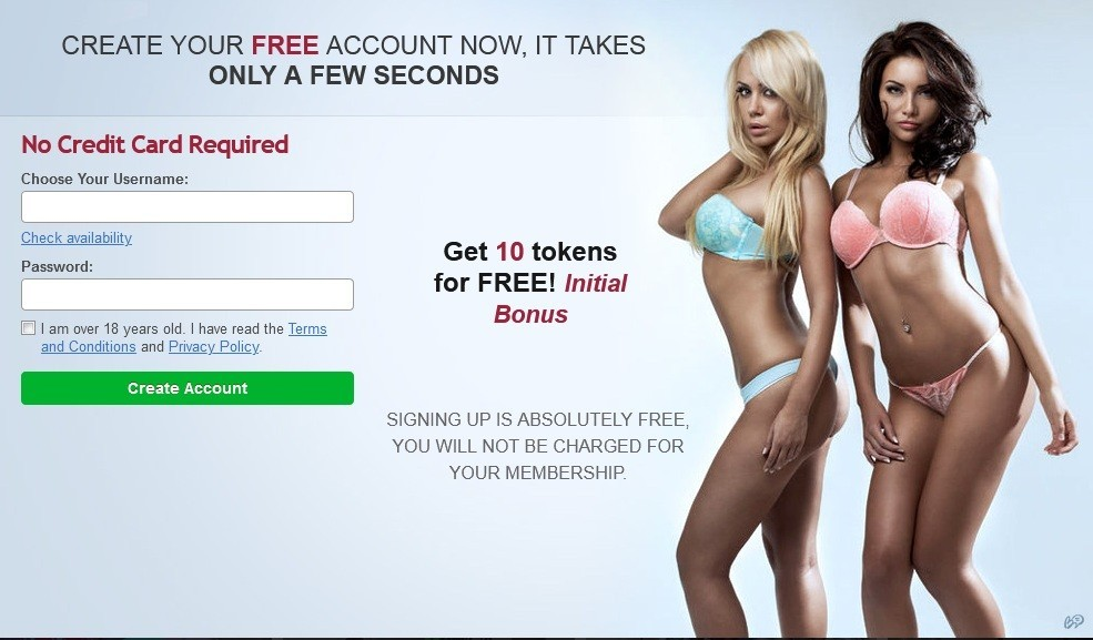 BongaCams user registration, free tokens