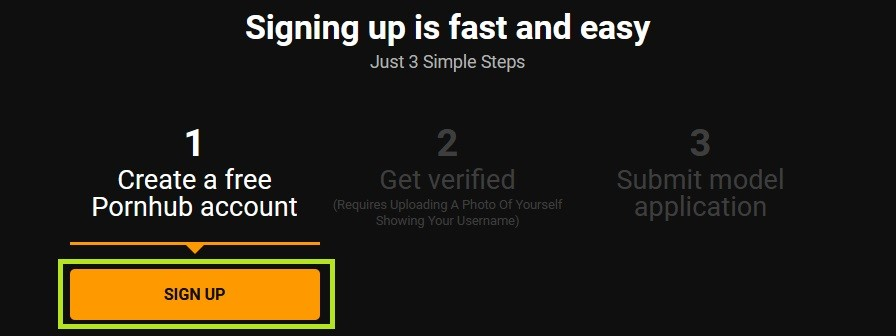 PornoHub registration, verification of a model